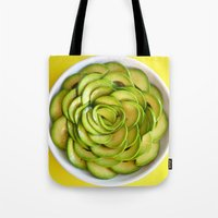 avocado Tote Bags featuring Avocado by Hector Wong