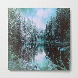 Mint Aqua Winter Wonderland : A Cold Winter's Night Metal Print
