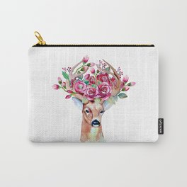 Shy watercolor floral deer Carry-All Pouch