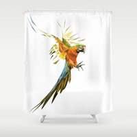 low poly Shower Curtains featuring Low poly Parrot by exya