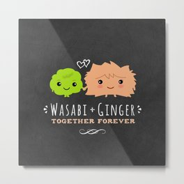 Wasabi and Ginger Together Forever | Cute Sushi Lover's Couple Metal Print