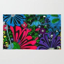 BLUE-RED-PURPLE MUMS FLOWER GARDEN Rug
