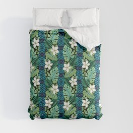 Tropical White Flowers Comforters