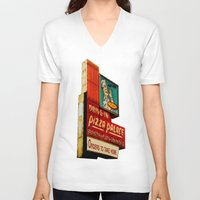 pizza V-neck T-shirts featuring Pizza by Hazel Bellhop