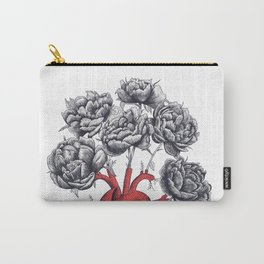 Heart with peonies Carry-All Pouch