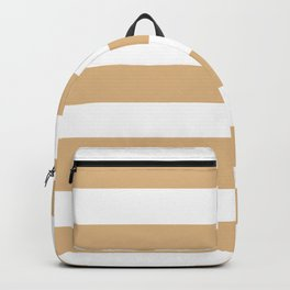 Burlywood - solid color - white stripes pattern Backpack