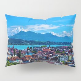 Lake Lucerne, Switzerland Chapel Covered Bridge Panaromic View Pillow Sham