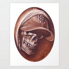 skull and cap Art Print