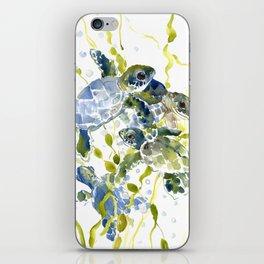 Turtle Baby Sea Turtles, underwater scene olive green, green indigo blue children iPhone Skin
