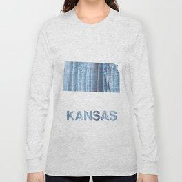 Kansas map outline Light steel blue nebulous watercolor paper Long Sleeve T-shirt
