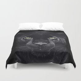 Panther on black Duvet Cover