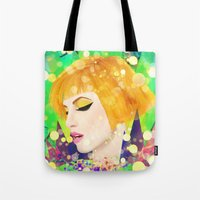 hayley williams Tote Bags featuring Digital Painting - Hayley Williams - Variation by EmmaNixon92