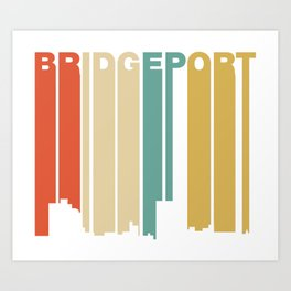 Retro 1970's Style Bridgeport Connecticut Skyline Art Print