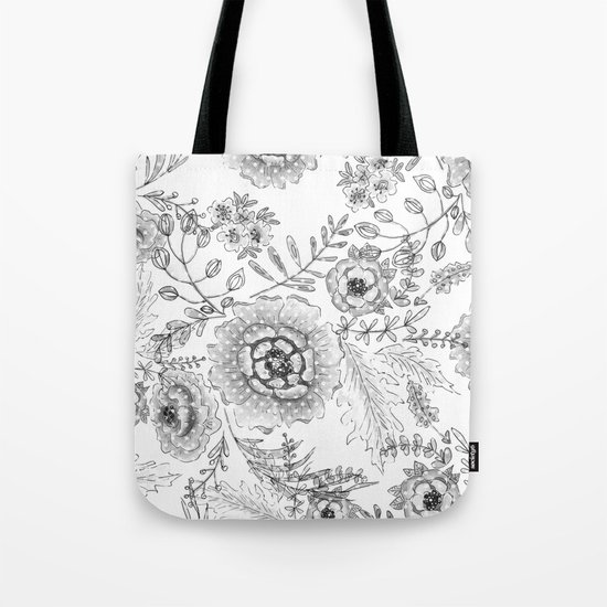 Black and white watercolor floral pattern with polka dots . Tote Bag