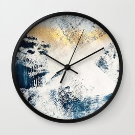 Sunset [1]: a bright, colorful abstract piece in blue, gold, and white by Alyssa Hamilton Art Wall Clock