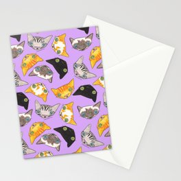 """Oro?"" Cats-Lavender Stationery Cards"