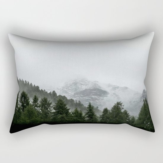 Faded Forest Landscape Rectangular Pillow