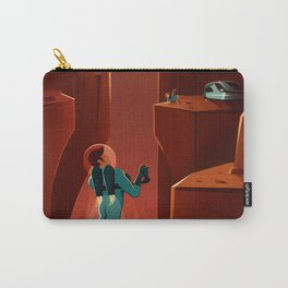 Discover Valles Marineris Land of Martian Chasms and Craters Mars Travel Poster Carry-All Pouch