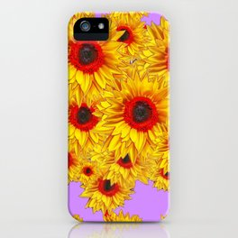 Lilac Purple & Red Center Sunflowers Pattern iPhone Case