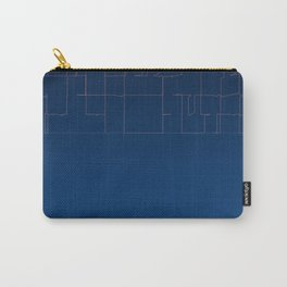 Digital Dark Navy Blue Ombre Fine Lines Carry-All Pouch