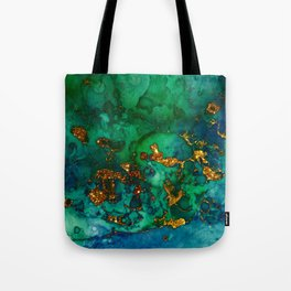 Emerald And Blue Glitter Marble Tote Bag