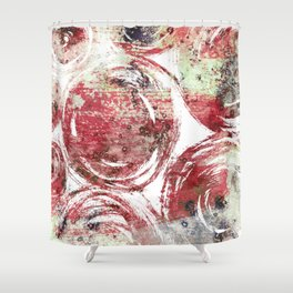 Rust : Red, maroon, brown, and yellow-green abstract ink painting Shower Curtain