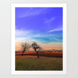 Trees, sunset, clouds, panorama and village | landscape photography Art Print