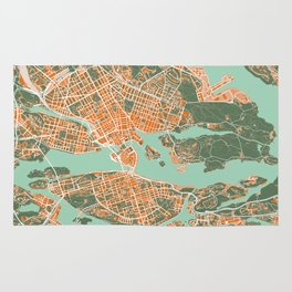 Stockholm city map orange Rug