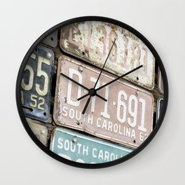 Old License Plates Wall Clock