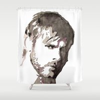 charlie brown Shower Curtains featuring Charlie Watercolour by Sophie Brown Art