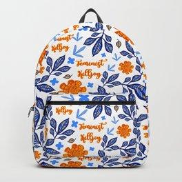 Gorgeous Blue and Orange Feminist Killjoy Print Backpack