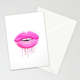 Pink lips Stationery Cards