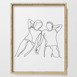 Lovers - Minimal Line Drawing2 Serving Tray