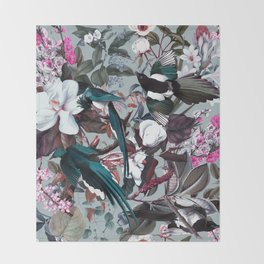 Floral and Birds XXIV Throw Blanket