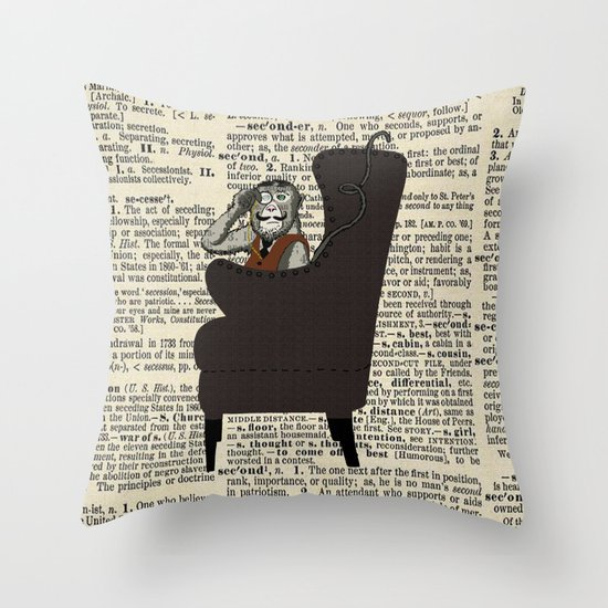 Detective Monkey Throw Pillow