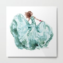 Fashion Blue Turquoise Teal Dress Girl Metal Print