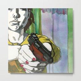 Girl with a Gun Metal Print