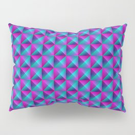 Tiled pattern of dark blue rhombuses and purple triangles in a zigzag and pyramid. Pillow Sham