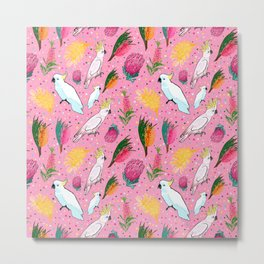 Australian Native Florals and Birds - Pretty in Pink Metal Print