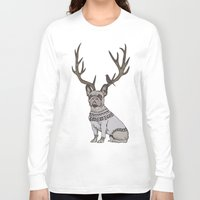 frenchie Long Sleeve T-shirts featuring Deer Frenchie  by Huebucket