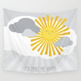 KAWAII SKY - smiling sun in grey clouds - you make me happy Wall Tapestry