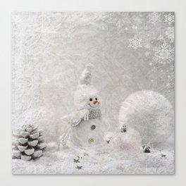 Cute snowman winter season Canvas Print