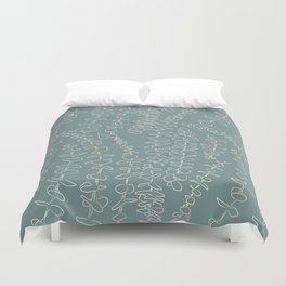 Round Eucalyptus Leaf Toss in Sage Green + Natural Duvet Cover