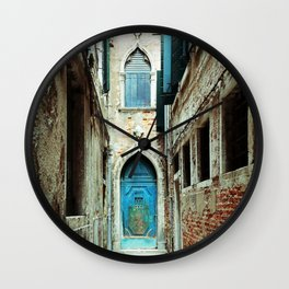 Venice Italy Turquoise Blue Door Wall Clock
