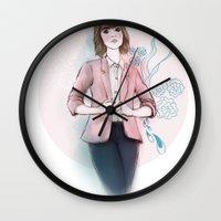 peach Wall Clocks featuring Peach by missjosh