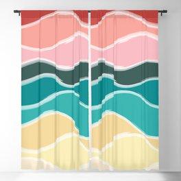 Vintage 50s Palette Mid-Century Minimalist Waves Abstract Art Blackout Curtain