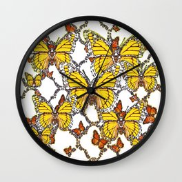 ABSTRACT LACEY PATTERN MONARCH BUTTERFLIES DESIGN Wall Clock