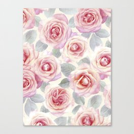 Mauve and Cream Painted Roses Canvas Print