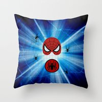 spider man Throw Pillows featuring Spider Man by haroulita