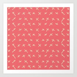 Pink sand brown abstract geometrical hand painted Art Print